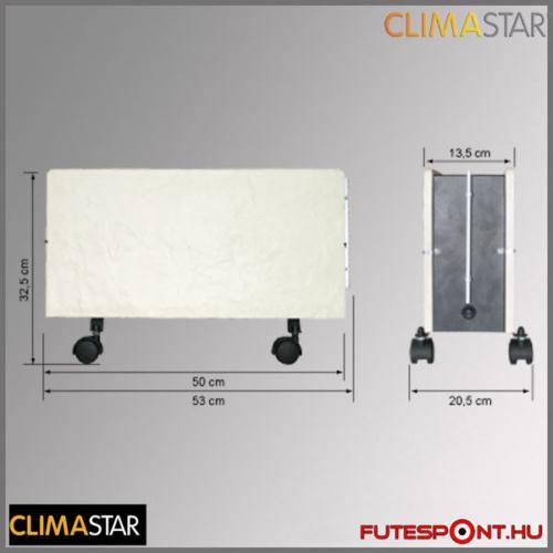 climastar OPTIMUS hőtárolós mobil fűtőpanel, kerámia, fehér mészkő